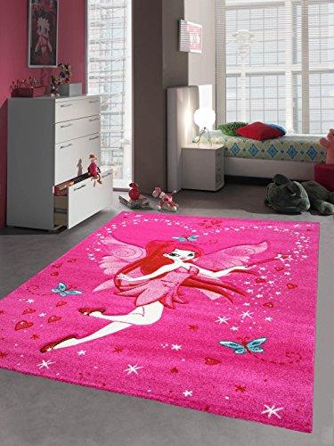 Kinderteppich Spielteppich Kinderzimmer Teppich Zauberfee mit Schmetterlinge Pink Creme Rot Türkis Größe 80x150 cm