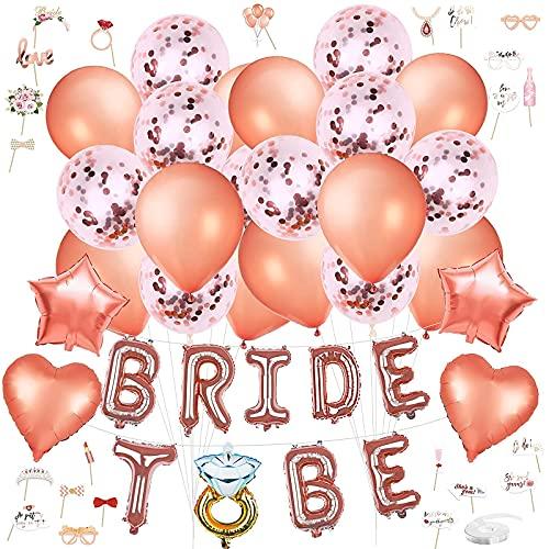 Yuragim bride to be kit, fascia sposa addio al nubilato, accessori decorativi per l'addio al nubilato, per futura sposa, Palloncini in Oro Rosa, Team della sposa, banner + fascia