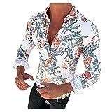 Camisas para Hombre Camisa De Manga Larga Ajustada Informal para Hombre Camisas Delgadas con Estampado De Flores Camisa De Vestir para Hombre Ropa para Hombre X