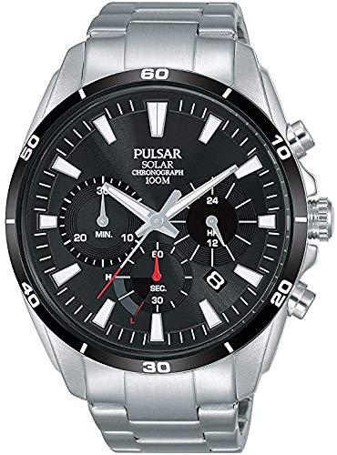 Pulsar PZ5059X1 Sport-Armbanduhr, solarbetrieben, schwarzer Hintergrund