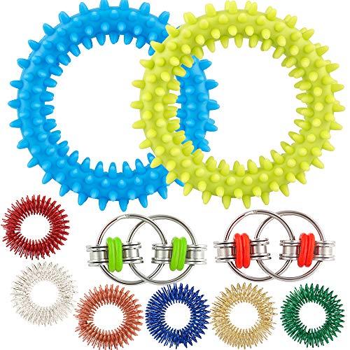 Vanmor Fidget Bracelets & Rings & Chains for Stress & Anxiety Relief, 10Pcs Silent Fidget Sensory Toy for Kids & Adult with 6 Spiky Finger Ring, 2 Flippy Bike Chain, 2 Hedgehog Bracelet Sensory