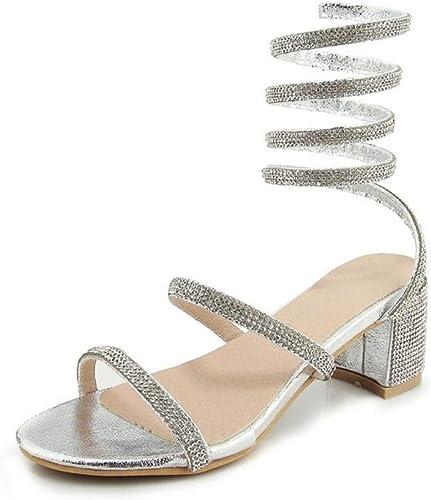 Zapatos de tacón, Sexy Boton Sandalias para Europeos y Americanos de Gama Alta Moda mujer PU 6 cm Nightclub
