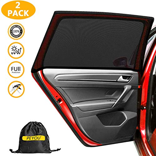 PEYOU 2021 Upgraded Car Window Shade, Car Window Sun Shades for Kids, Baby, Women, Pets, Mesh Car Rear Side Window Shade Universal Fit Most(95%) of Cars-Block 99% UV Rays-Travel E-Book