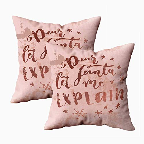 N\A Body Pillow Covers Kids, Fun Pillow Covers Christmas Home Decor Dear Santa Let Me Christmas Quote Calligraphic Greeting Card in Rose Gold Colors Bronze Christmas Pillow Cases Set of 2