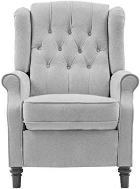YANXUAN Pushback Recliner Chair, Tufted Armchair with Padded Seat, Backrest,Nailhead Trim, Light Grey