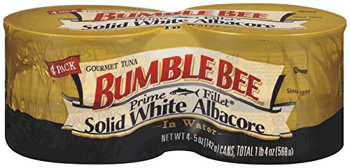BUMBLE BEE Prime Fillet Solid White Albacore Tuna Fish in Water, 5 Ounce Can (Pack of 4), Wild Caught Tuna, Canned Tuna, High Protein, Keto Food, Keto Snack, Gluten Free, Paleo Food, Low Carb Snacks