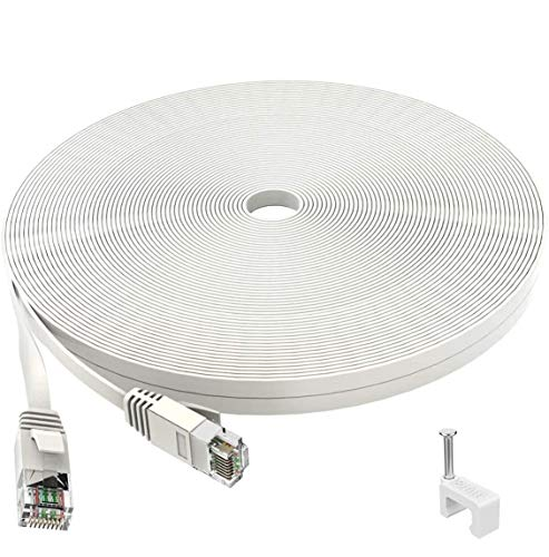 IKBC Ethernet Kabel 30m, Cat 6 Netzwerkkabel Flaches LAN Kabel, Cat6 F/UTP Hochgeschwindigkeits Rj45 Patchkabel, schneller als Cat5e/Cat5