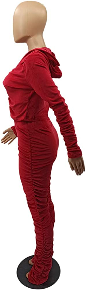 Velour Tracksuit Womens 2 Pieces Zip Up Hoodie Sweatshirt Jacket Ruched Stacked Pants Sweatsuits Sportswear Joggers Sets