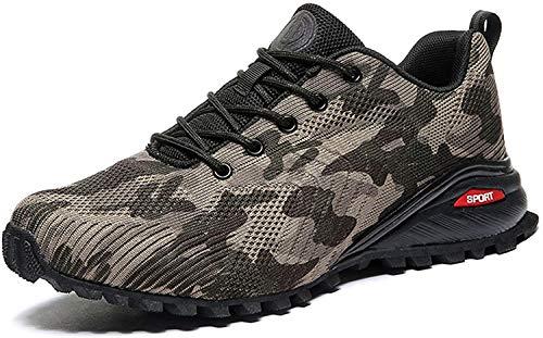 VIPBQO Zapatillas de Trail Running para Hombre Zapatillas de Senderismo Transpirables Senderismo Zapatillas de Senderismo con Soporte de Arco (45,Rojo)