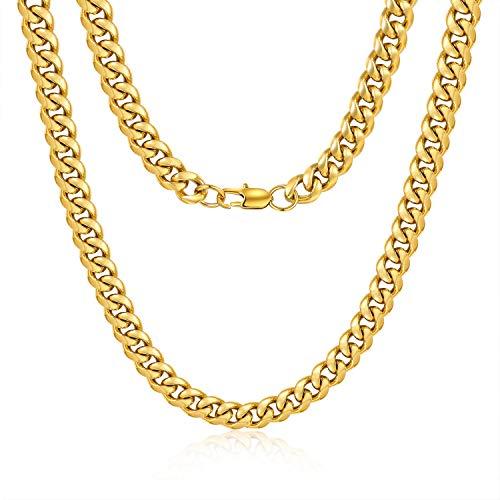 Jewlpire Diamond Cut Miami Cuban Link Chain for Men, Gold Chain for Men, Chain Necklace for Men Boys Women, Hip-Hop & Cool Men's Necklace, 18K Gold Plated, 10mm Width, 22 Inch