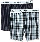 Calvin Klein Boxer Slim Fit 2pk, Negro (Ryan Stripe D Well/Hickory Plaid B Jkz), M (Pack de 2) para Hombre