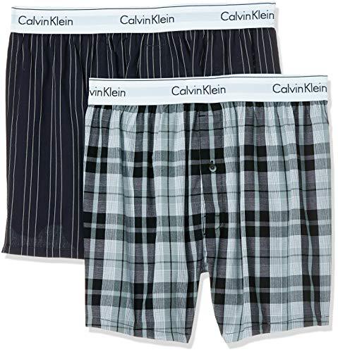 Calvin Klein Herren 2p Slim Fit Boxer Boxershorts, Schwarz (RYAN STRIPE D WELL/HICKORY PLAID B JKZ), S