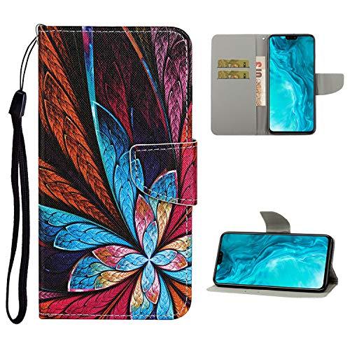 Nadoli Brieftasche Etui für Xiaomi Redmi 9,Bunt Blumen Muster Bunt Pu Leder Lanyard Standfunktion Magnetisch Handyhülle Schutzhülle Lederhülle mit Kartenfach