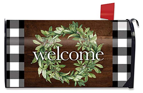 Briarwood Lane Farmhouse Wreath Spring Magnetic Mailbox Cover Floral Standard