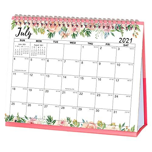 Amazon Brand - Eono Calendario de escritorio 2021-2022, julio de 2021 a diciembre de 2022, calendario planificador de escritorio de flores con memorando, páginas para voltear y soporte incorporado.