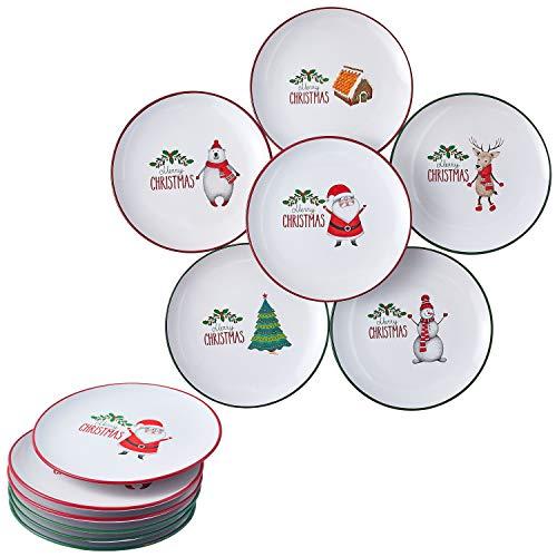 Christmas Theme Holiday-Inspired Ceramic Dinner Plates 8' - Set of 6