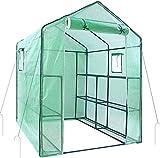 Ohuhu Invernadero para Exteriores Nuevo Modelo con Ventanas, 3 Niveles y 12 estantes. Ideal para Cultivo de Flores y Plantas. Dimensiones, 190x143x143cm (HxBxT)