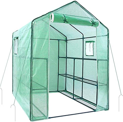 Greenhouse for Outdoors with Observation Windows, Ohuhu Walk-In Plant Greenhouse with Durable PE Cover, 3 Tiers 12 Shelves Stands Green House with Ground Pegs & Ropes for Stability, 4.9 x 4.7 x 6.4 FT