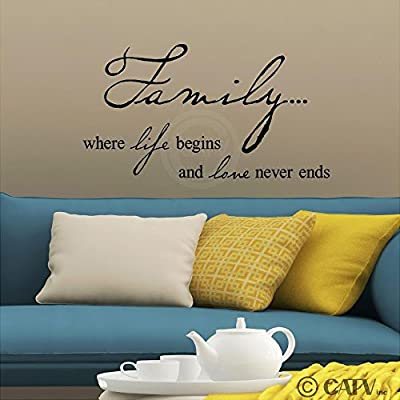 Family Where Life Begins and Love Never Ends Vinyl Lettering Self Adhesive Wall Decal