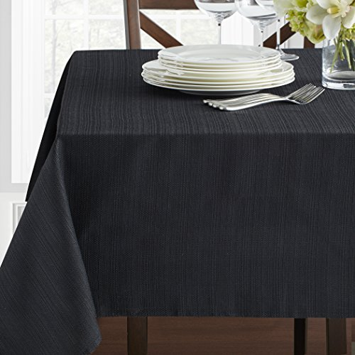 "Benson Mills Textured Fabric Tablecloth (60"" x 120"" Rectangular, Black)"