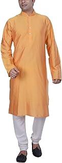 KISAH Men's Magenta Benarasi Cotton Silk Solid Coloured Kurta