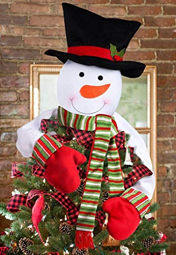 Christmas Tree Topper Snowman Hugger - Xmas Holiday Winter Wonderland Party Decoration Ornament Supplies