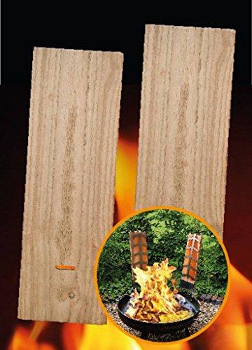 2 Flammlachs-Bretter aus Holz - 2 Ersatz-Holzbretter für Flammlachshalterungen 45 x 15 cm (2355)