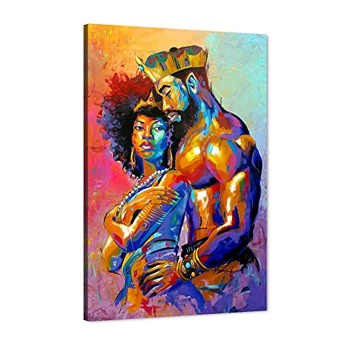 "African Queen and King Modern Wall Art, Sexy Pose of Hot American Crown Couple Man Carrying Women Canvas Print for Home Decor, Contemporary Framed Artwork for Bedroom Living Room Decor(24""Wx36""H)"