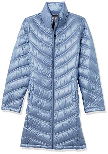 Calvin Klein Women's Chevron Quilted Packable Down Jacket (Regular and Plus Sizes), Shine Blue Dusk, X-Small