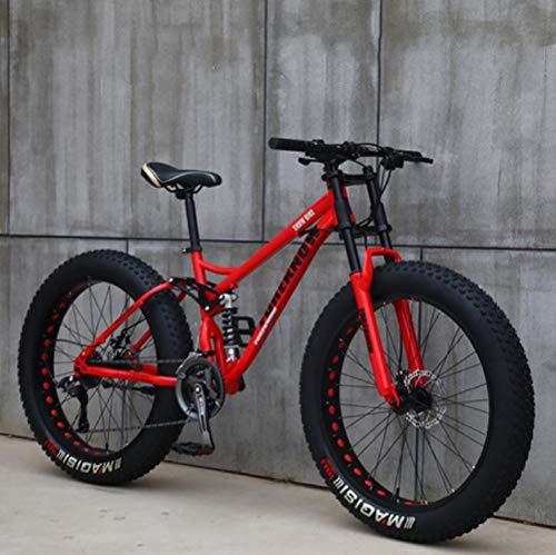 VTT 26'', 21 Vitesses Vélo Gros Pneu,Adulte Vélo Tout-terrain à Vitesse Variable pour la Plage et la Neige,Cadre en Acier à Haute Teneur en Carbone Dual Full Suspension Dual Disc Brake (rouge)