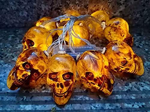 U/N Halloweenluces Fiesta Cadena de Luces de Halloween Patrón de Calavera Cadena de Luces LED Cadena Decorativas para Exteriores para Patio, jardín, Puerta, Patio, decoración de Navidad de Halloween