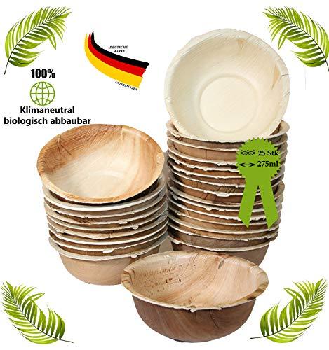 BIOQUQ Edle Einwegschale | 275ml, 25 Stück | Einweggeschirr kompostierbar aus Palmblatt |Einweg Suppenschale | Snackschale (275ml, 25 Stück)