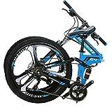Eurobike Folding Mountain Bicycles 3 Spoke Wheels Bike G4 (blue)