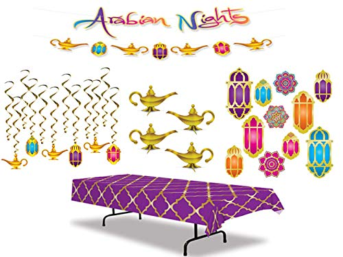 Arabian Nights Party Decoration Kit Including a Table Cover, Hanging Decorations, 3-D Foil Centerpieces, Streamer Set…