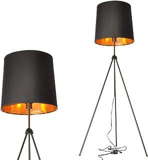 Lampadaire trepied interieur moderne en metal avec abat-jour noir doree lampe sur pied industrielle vintage design chambre...