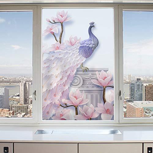 KBLTA Fensterfolien Schiebetürpfaumuster Der Beweglichen Tür des Fensters Mattglasfilm-Statischer Kleber,50 * 200CM