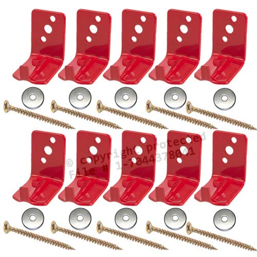 (Lot of 10) Fire Extinguisher Bracket, Wall Hook, Mount, Hanger, Universal for 10 to 15 Lb. Extinguishers WITH SCREWS and WASHERS