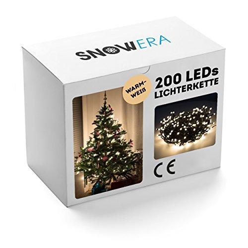 SnowEra Catena Luminosa a Lampadina da 30 m con 200 LED |Illuminazione Natalizia per Albero di Natale Adatta ad Interni ed Esterni con Timer – Colore Luce: Bianco Caldo