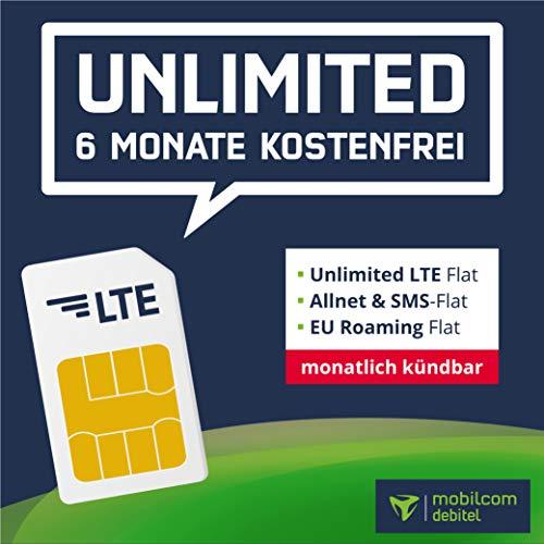 mobilcom-debitel All Inclusive SIM-Paket - 6 Monate ohne Grundgebühr, Unbegrenzte LTE-Internet Flat mit 2 Mbit/s, Flat Telefonie & SMS, EU-Roaming (mtl. kündbar)