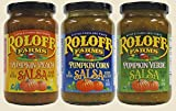 Roloff Farms Pumpkin Salsa Variety Pack (Peach, Corn, and Verde), 14 Ounce 3 Pack