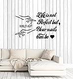 yaonuli Nail Art Vinilo Tatuajes de Pared Nail Salon Etiqueta de la Pared Manicura polaca Etiqueta de la Mano Mural Dormitorio Decoración del hogar71x42cm
