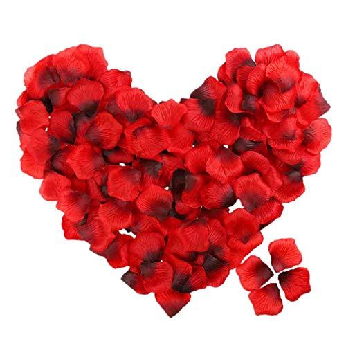 500pcs Silk Rose Petals Engagement Romantic Petals Künstliche Blütenblätter für Hochzeitstafel Konfetti Dekorationen von TheBigThumb, Rot-Dunkelrot