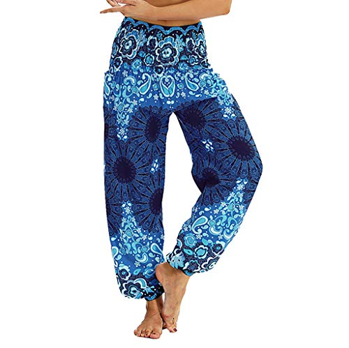 SHOBDW Pantalones Mujer Verano 2020 Playa Yoga Pantalones Chandal Anchos Cintura Elasticos Cómodo Pantalones Caseros Casual Pantalones Deporte Suelto Pantalones de Dormir(Azul,M)