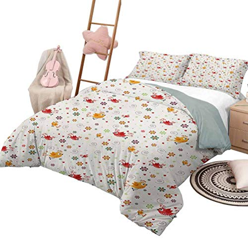 DayDayFun Kids' Quilt Set Nursery Lightweight Bedroom Bedspread for All Season Birds Swirls Flowers and Mini Hearts Nature Inspired Drawing Style Happy Animals Full Size Multicolor