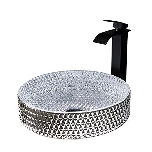 Juego de fregadero y grifo para baño, lavabo de recipiente de cristal artístico, lavabo de baño sobre encimera con grifo en cascada, desagüe emergente y tubería de agua,Silver round
