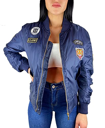 Worldclassca Damen Bomber Jacke MIT Army MILITÄR Patches ÜBERGANGSJACKE Bomberjacke Blouson Piloten Jacke Fliegerjacke Blogger Clubwear NEU REIßVERSCHLUSS NEU XS-L (L, Blau)