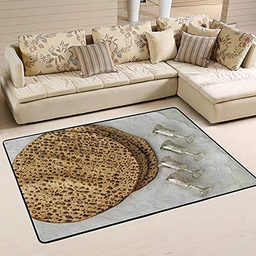 Fun-World Area Rug Pessach ungesäuerte Brot Weinbecher Fußmatten Innen Polyester rutschfest Multi Rechteck Teppich Küchenboden für zu Hause,150X100Cm