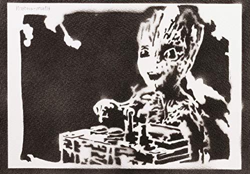 Baby Groot Poster Guardians of the Galaxy Handmade Graffiti Street Art - Artwork