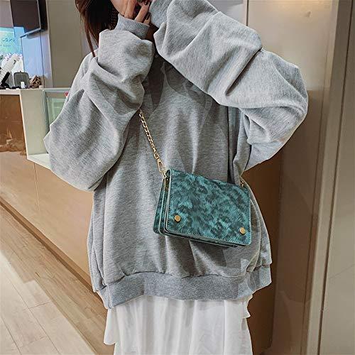 Schultertaschen Cllozd Leopard Druck Glatte Oberfläche PU Umhängetasche Damen Handtasche Messenger Bag (schwarz) (Color : White)