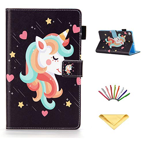 Uliking Case for 8 inch Amazon Kindle Fire HD 8 Tablet Case (8th/7th/6th Generation, 2018/2017/2016), Smart PU Leather [Auto Wake/Sleep] Folio Stand Cover with Card Pocket Pencil Holder, Unicorn Star